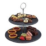 Relaxdays Etagere, 2 Etagen, Schiefer, Kuchen, Snacks, Obst, Metallgriff, Servierständer, HxD 23x25 cm, anthrazit/silber