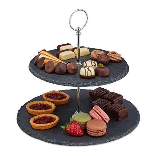 Relaxdays Soporte de 2 pisos, pizarra, pasteles, aperitivos, frutas, mango de metal, soporte para servir, alto x ancho 23 x 25 cm, antracita/plata