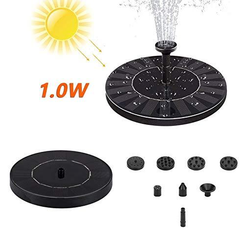 riou Solar Springbrunnen für Teich Garten 1W Schwimmend Klein Mini Rund Springbrunnenpumpe Teichpumpe Wasserpumpe (Schwarz)