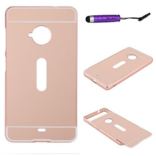 Microsoft Lumia 535 Custodia, Moonmini Ultra Sottile 2 in 1 Alluminio Metallo Bumper Custodia + Specchio Back Cover per Microsoft Lumia 535 - Oro rosa