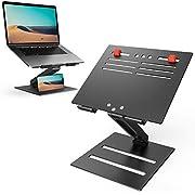 "Laptop Stand Holder,Klearlook Foldable Multi-angle Height Adjustable Single Arm Laptop Riser,Aluminum Ventilated Desktop Ergonomic Space-save Notebook Tray Mount for Laptop & Tablet 10-17""-Black"