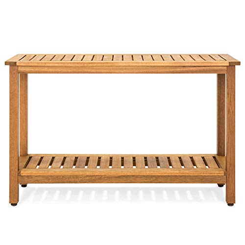 Best Choice Products 48in 2-Shelf Indoor Outdoor Multifunctional Wood Buffet Bar Storage Console Table Organizer