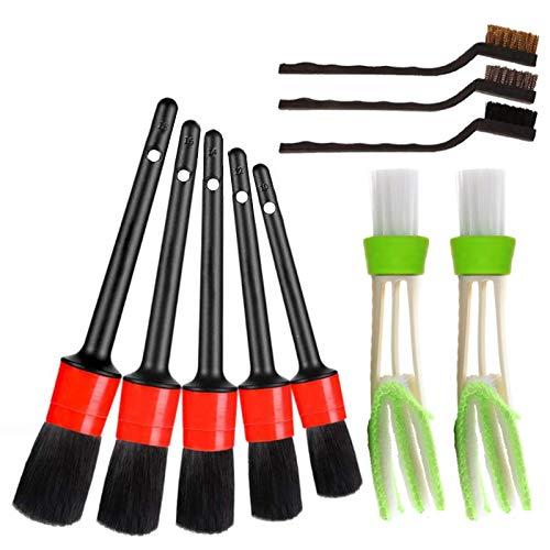 Weytoll 10 pezzi Kit pulizia auto per pulire ruote, interni, esterni, pelle, include 5 spazzole per dettagli Premium, 3 spazzole di filo e 2 spazzole per condizionatore auto