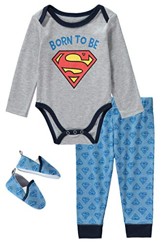 DC Comics Superman 3 Piece Infant Boys Long Sleeve Bodysuit with Pullon Pants and Matching Shoes Grey/Blue 6-9 Months