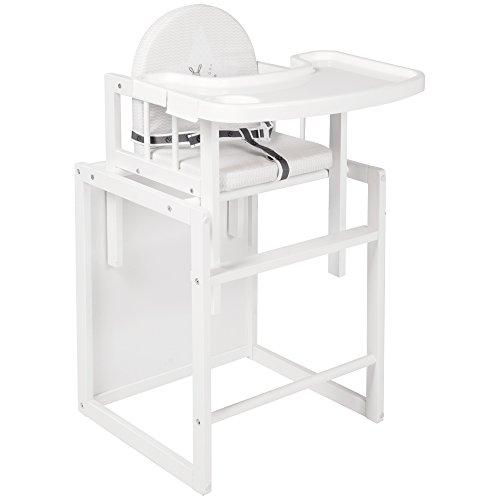roba Kombi-Hochstuhl, Kinderhochstuhl mit Essbrett wandelbar zu Tisch & Stuhl, Holz Hochstuhl weiß, Sitz gepolstert 'Fox & Bunny'