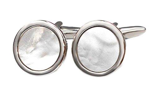 magdalena r. edle Perlmutt Manschettenknöpfe rund silbern Weiss 15 mm inkl. Silberbox Outletpreis