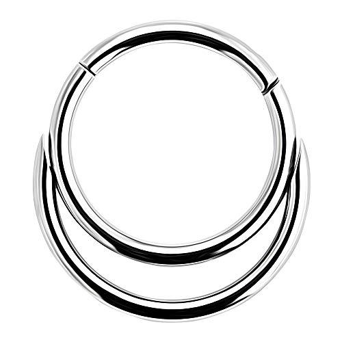 AZARIO LONDON Piercing para la nariz de acero quirúrgico 316L de calibre 16 (1,2 mm) a 10 mm de diámetro, doble círculo con bisagras, segmento de nariz