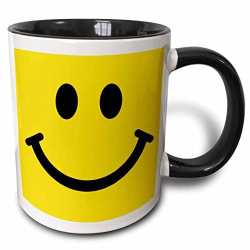 3dRose Yellow Smiley face-Happy Smiling cartoon-60s Jolly Cheerful Bright Two Tone Mug, 11 oz, Black/White