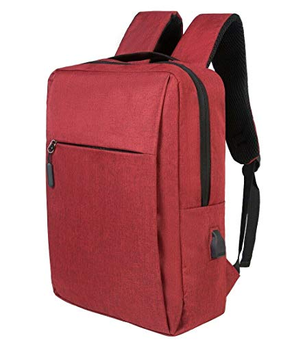 Anti-Theft Laptop Backpack,Business Travel Backpack Bag with USB Charging Port Lock,Water Resistant College School Computer Rucksack Work Backpack for Mens Womens Fits 15.6 Inch Laptop (Red)