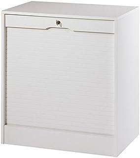 SIMMOB MATHA Classeur à Rideau Large Hauteur 76 cm - Coloris - Blanc, Pin, 44x70,1x76,4 cm