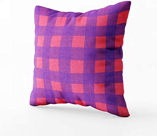 Fundas de almohada de sofá, patrón sin costuras, color morado, rosa a cuadros, en Swatch 40,6 x 40,6 cm, fundas de almohada decorativas con cremallera para sofá