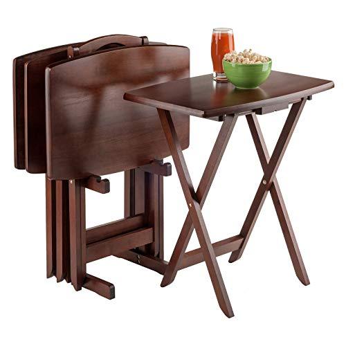 Winsome Wood Darryl 5-Piece Oversize Snack Table Set, Walnut Finish