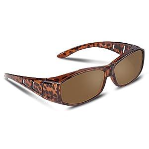 Ewin® メガネの上から掛けられる オーバーサングラス メンズ レディース 兼用 偏光レンズ UV400 紫外線カット 花粉 サングラス 自転車/野球/ゴルフ/釣り最適 (茶色)