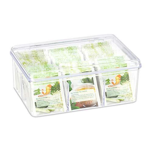 Relaxdays transparente Teebox - 6 Fächer mit Deckel und Aromaschutz 14,5 x 21,5 x 9 cm