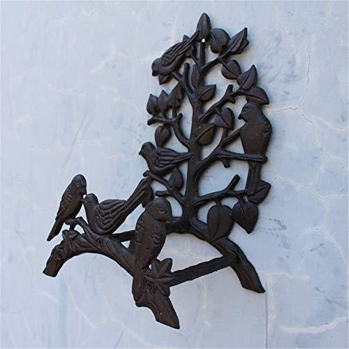 Birds Tree Hose Butler Soporte para Manguera de Agua Rack Reel Hook, Euro Montado en la Pared Hierro Fundido Colgador de Manguera de jardín, Estante de jardinería Decoración de Pared de jardín Dispos