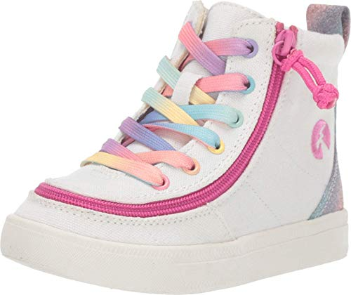 BILLY Footwear Kids Baby Girl's Classic Lace High (Toddler) White Rainbow 7 Toddler M