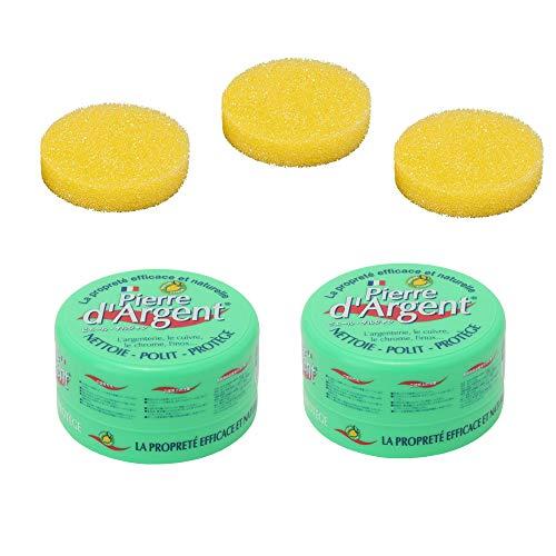 ピエールダルジャン 2個セット(レモン香り)スポンジ3個付き 油汚れ 水垢 浴室 浴槽 マルチクリーナー オーガニック洗剤 固形洗剤