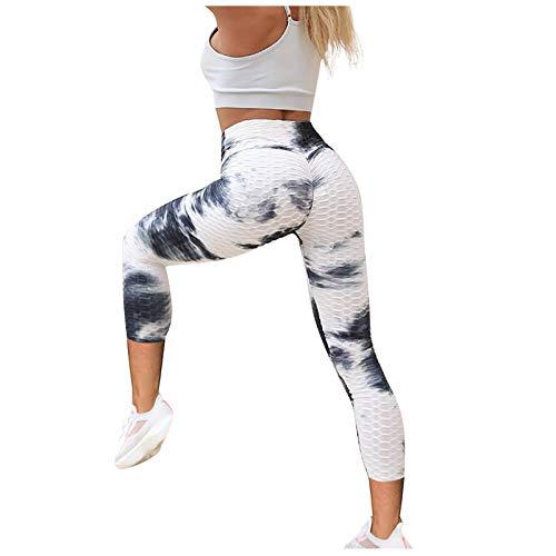 GYZF Ejercicio de Levantamiento de Cadera Transpirable Bolsillos para Yoga Pantalones Deportivos con teñido Anudado para Mujer, Noveno pantalón de Yoga con Burbujas