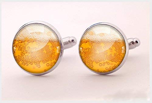 Bier-Manschettenknöpfe, Trinker-Manschettenknöpfe, orangefarbenes Bier, handgefertigte Manschettenknöpfe, runde Silber-Manschettenknöpfe, Charmschmuck, Hemd-Manschettenknöpfe, Vintage-Stil.