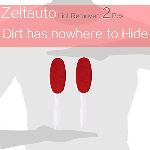 Zelta Double Sided Lint Remover Brush Velour Surface for Pet Hair Clothes Dust and Lint (2 Pack)