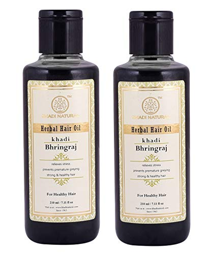 Khadi Bhringraj Haar Öl, 210ml für Haar Wachstum, schwarz Haar Volumen