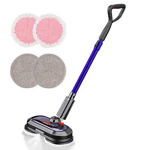 Electric Mop, Cordless Electric Mop with 300ml Water Tank, Polisher with LED Headlight and Sprayer, Spin Mop for Hardwood, Tile, Marble, Laminate Floor, Less than 50dB during Floor Cleaning & Waxing