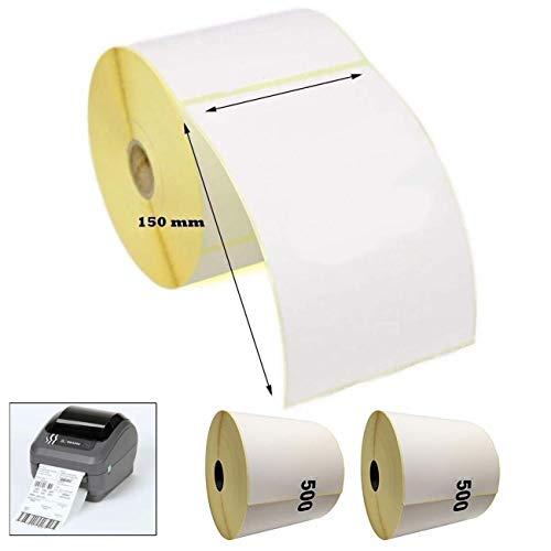 2 rollos (1000 etiquetas) etiquetas térmicas directas, color blanco, 100 x 150 mm para impresora Zebra GK420D GX420D GK420T