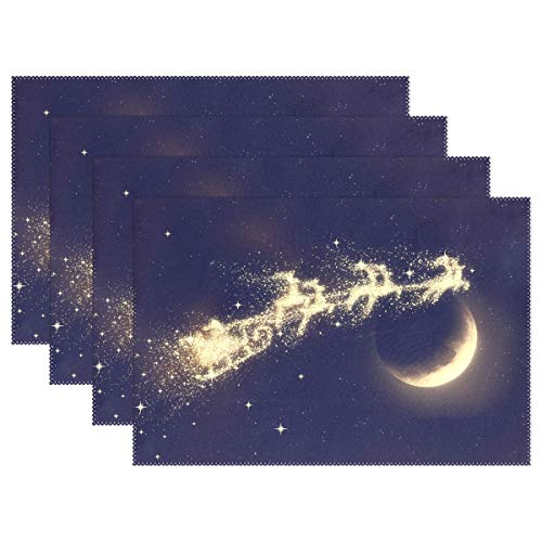 Mr.XZY Christmas Reindeer Starry Sky Moon Placemats for Dining Table Washable Polyester Table Mat Easy to Clean for Kitchen 18' x 12' Set of 6 2010444