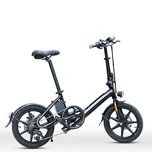 HWOEK Erwachsene Faltbares Elektrofahrrad, 6 Gang 250W Motor Rahmen aus Aluminiumlegierung 16 Zoll Stadtreise E-Bike Doppelscheibenbremse Mit Rücksitz,Schwarz,7.5AH
