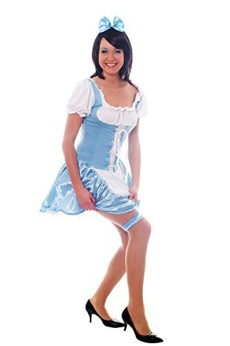 Wig Me Up - Costume pour Femme: Dirndl, Couleur Bleu Clair, Femme De Chambre avec Serre-Tête Et Collier - Taille : 38