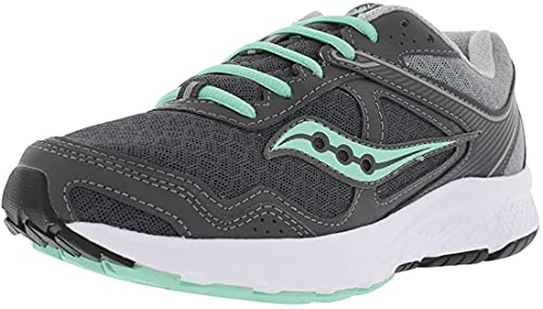 Saucony Women's Cohesion 10 Running Shoe, Grey/Mint, 8 Wide