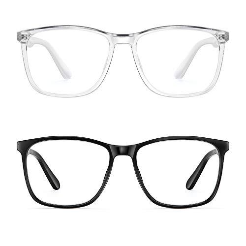 Blue Light Blocking Glasses Women/Men, PengSer Fashion Lightweight Frame Computer Eye Glasses Anti Eyestrain & UV Glare for Gaming & Reading, 2-Pack ¡