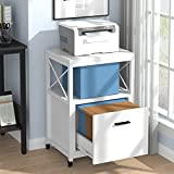 Tribesigns Rolling File Cabinet, Mobile Vertical Filing Cabinet fits Letter/ A4 Size, Wood Printer Stand with Drawer for Home Office (White)