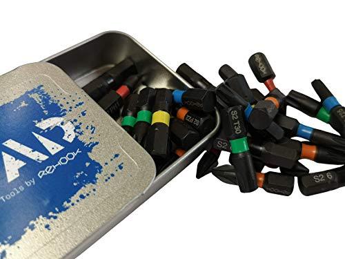 Rehook Reload 30x Mixed Tool bits - 25mm Impact Screwdriver Drill Driver Bits Set PZ2, PH1, H5, H6, T25, T30, PoziDriv, POZI, hex Allen Torx Phillips