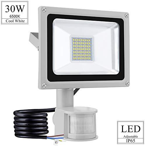 LED Projecteur Détecteur de Mouvements 30W 2400lm Floodlight Lumières de paysage 6500K Blanc froid Projecteur Extérieur Imperméable IP65 Spotlight pour pour Jardin Terrasse Garage Cour Usine