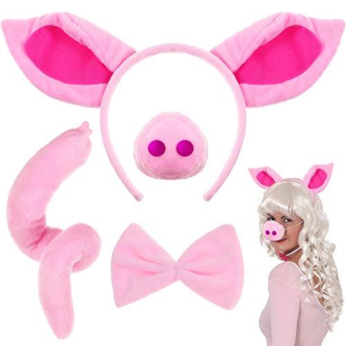 Conjunto de Disfraz de Cerdo Rosa Cerdo Orejas Cerdo Nariz Cola y Pajarita Cerdo Rosa Kit Traje de Costume para Halloween Fiesta 4 Piezas Cerdo