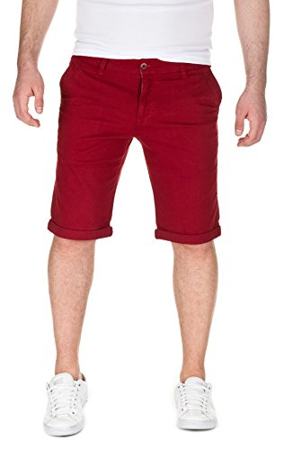 WOTEGA Herren Chino Shorts Bermuda Wein Rot Hose Alex Kurze Bordo Short Männer Hosen Sommer Rote Stretch Capri Hose Slim, Port (86448), W33