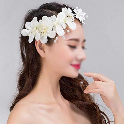 JJZXD Big Flower Bridal Diadema guirnaldas Florales Chicas Cabeza Cabeza de Cabeza Novia Tiaras Tocado Boda Mujeres Accesorios para el Cabello