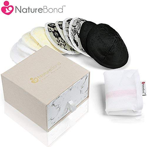 NatureBond Washable Bamboo Cotton Nursing Pads (10 Pack), Contoured Reusable Breast/Breastfeeding Lace Pads, Beautiful Absorbent Hypoallergenic, Bonus Large Laundry Bag, Perfect Baby Shower Gift