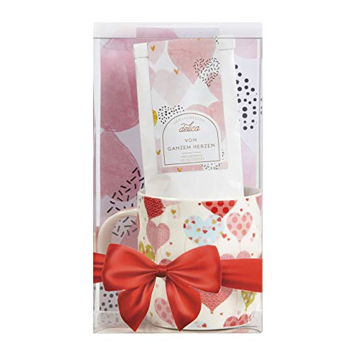 LAUX Tee Geschenkset mit 100g Von Ganzem Herzen Früchtetee und Teetasse, in schöner Verpackung zum Verschenken