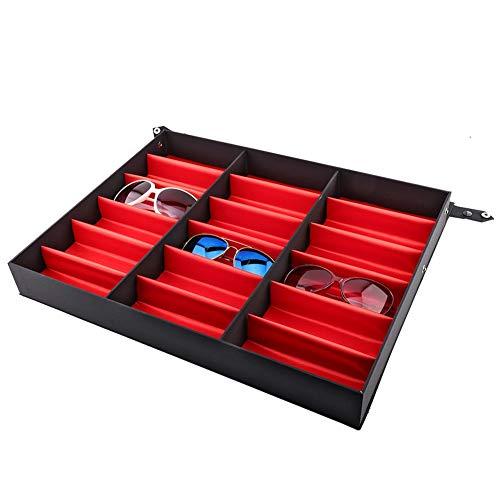 Caja de Almacenamiento de Gafas Caja de 18 Gafas de Rejilla, Vitrina de Plástico para Gafas Caja de Presentación de Gafas Versátil Caja Organizadora para Gafas Relojes y Joyas, MDF, 47 * 37 * 6 cm