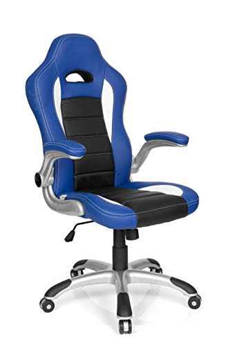hjh OFFICE 621890 Chefsessel GAME SPORT Kunstleder Schwarz/Blau Gaming Stuhl Bürostuhl, Armlehnen klappbar