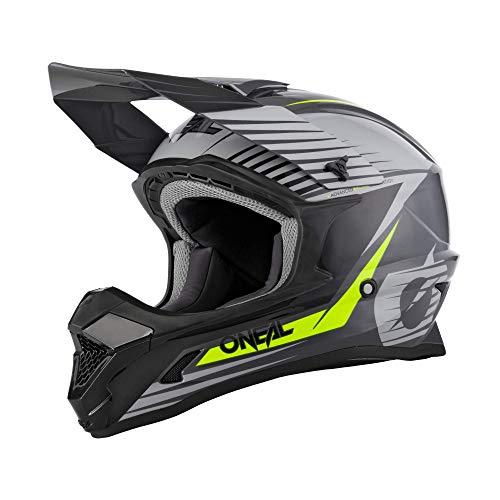 O'NEAL | Motocross-Helm | MX Enduro Motorrad | ABS-Schale, Sicherheitsnorm ECE 22.05, Lüftungsöffnungen für optimale Belüftung & Kühlung | 1SRS Helmet Stream | Erwachsene | Grau Neon-Gelb | Größe XL