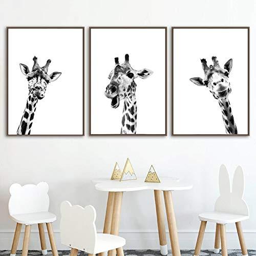 Bzdmly Schwarz Weiß Leinwand Poster Giraffe Safari Tiere Wandkunst Malerei Kinderzimmer Baby Giraffe Nordic Print Raumdekor 50x70cm / 19.7