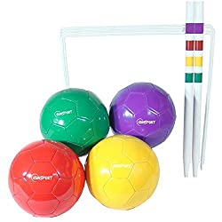 Football croquet set includes 4 footballs,2 target sticks,10 croquet hoops carrying bag included Multi lingual instructions included
