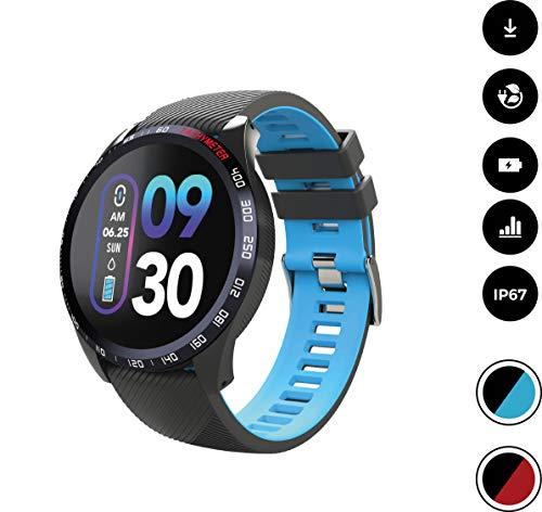 novasmart 【2020 Modell】 runR IV Smartwatch Fitness Tracker HD-Farbbildschirm Fitness Armband Uhr mit Pulsmesser, Schlafmonitor, Sportuhr, Schrittzähler für Android und iOS, schwarz/blau