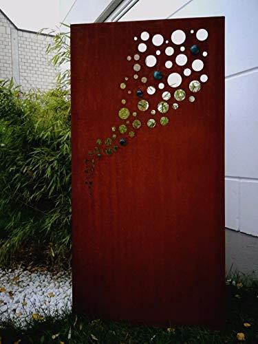 Zen Man Edelrost Garten Sichtschutz aus Metall GlasKugel Rost Gartenzaun Gartendeko edelrost Sichtschutzwand H150*75cm 031918-1