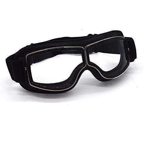 evomosa Gafas de Moto, Moto Gafas de Piloto Retro Bicicleta Antiniebla MTB Gafas de Motocross Gafas de Seguridad -Lente transparente