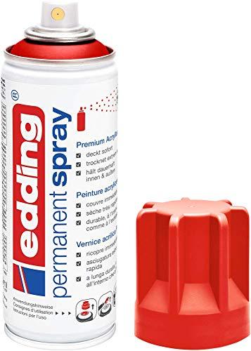 edding 5200 Permanent-Spray - verkehrs-rot matt - 200 ml - Acryllack zum Lackieren und Dekorieren von Glas, Metall, Holz, Keramik, lackierb. Kunststoff, Leinwand, u. v. m. - Sprühfarbe