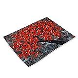 NIKIMI Tovagliette da cucina con motivo albero di fiori tavolo da pranzo tappetino antiscivolo sottobicchiere per bevande cotone lino Pad